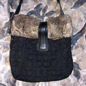 New Coach purse with fur black